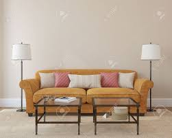 moderne wohnzimmer innenraum mit orange in der nähe leer beige wand 3d darstellung photo buchdecke wurde mir