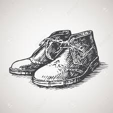 Sketched Vintage Desert Boots Stock Vector