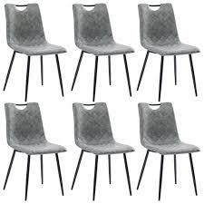 vidaxl esszimmerstühle 6 stk dunkelgrau kunstleder gitoparts