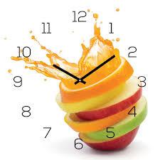 wanduhr glas 30x30cm uhr glasbild orange apfel wasser frucht küche wanddeko