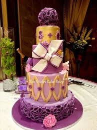 Purple And Gold 4 Tier Wedding Cake Venue Shot