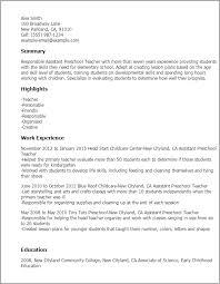 resume description of preschool professional assistant preschool templates to showcase