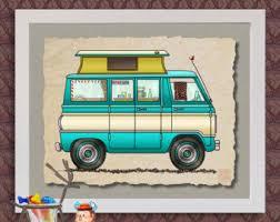 Pop Top Van Happy Camper Art Cute Whimsical Bus And Prints Add Fun To
