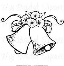 Bridal Clipart of a Coloring Page of Two Wedding Bells with Flowers
