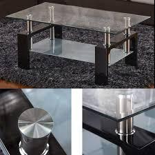 couchtisch glas wohnzimmertisch transparent mit gehärtetes glas couchtisch 2 stufige tisch mit regal stützbalken aus hartholz für wohnzimmer büro