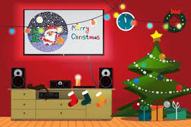 Christmas Room Interior Tree Gift Socks And Decoration TV Loudspeakers