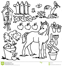 Adult Coloring Book Cartoon Farm Animals Stock Illustration Image Printables