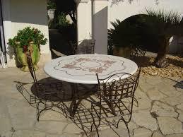 table ronde mosaique fer forge le mobilier david dalichoux