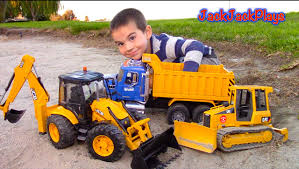 Bruder Toy Trucks For Kids - UNBOXING JCB Backhoe - Dump Truck ...