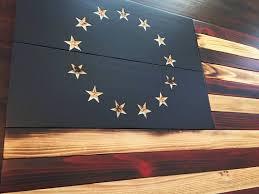 Old Glory Battlefield Flag Rustic American Wood