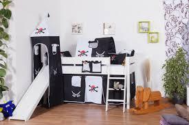 weißes hochbett für kinder mit rutsche und turm buche massivholz 90x200 cm