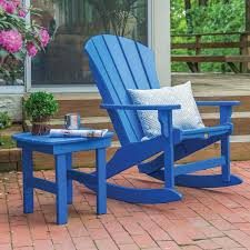 Pawleys Island Sunrise 2 Piece Poly Lumber Patio Rocking Chair Set - Blue