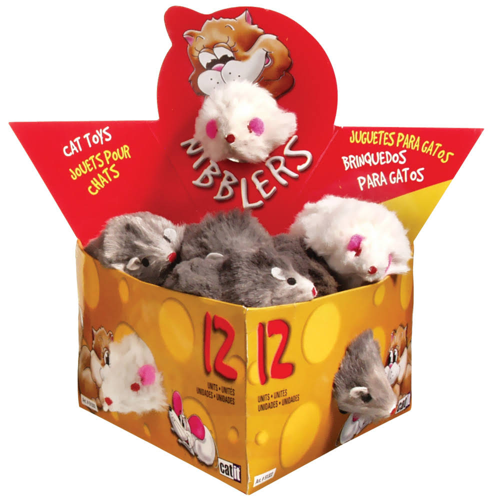 Catit Deluxe Fur Mouse Cat Toy - Large, 12pk