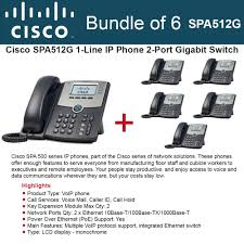 Cisco SPA512G BUNDLE OF 6 IP Phone 2-Port Gigabit PoE LCD Display ...