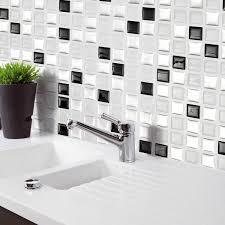 BlackWhiteGray 3D Mosaic Wall Stickers Backsplash Tile Wallpaper Home Bathroom Kitchen Decor