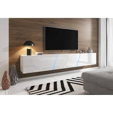 tv unterteil in hochglanz weiß lack hängend oder stehend lowboard space inkl rgb beleuchtung 240 x 35 cm
