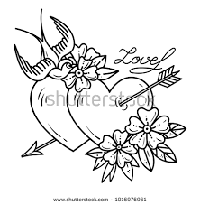 Tattoo Heart With Arrow Two Hearts Pierced By Flowers And Bird Love