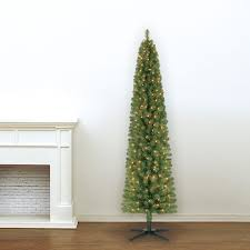 Slim Pre Lit Christmas Trees 7ft by 7 Ft Pre Lit Green Pencil Artificial Christmas Tree Clear Lights