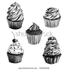 Set of 5 black and white hand drawn vector cupcakes