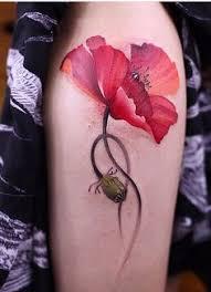 Abstract watercolour jemka tattoo red poppy poppies tora sumi Sydney