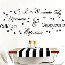 grandora wandtattoo kaffeesorten i schwarz kreativset i kaffee kaffeebohnen kaffeetasse küche esszimmer aufkleber wandaufkleber wandsticker sticker