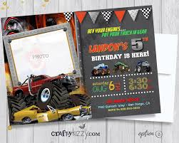 Monster Truck Birthday Invitation - Off-Roading Birthday Party ... Birthday Cards Boys Monster Trucks Truck Nestling Party Invitations Invitation Examples Truck Racing Car 2 3 Etsy 13 Best Jam Inspirational Amazon Lovely Cyclops 19 Mormotanet Pink Svg File With Hearts To Make Shirts Invitations Invite Naptime Serenity Invites Unique Of Blaze And The Templates Free Printable Free