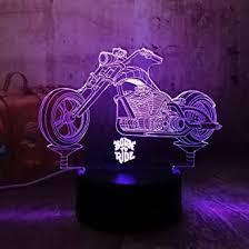 cool geboren um motorrad 3d led nachtlichter rgb 7 farben
