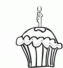 Birthday Cupcake Coloring line