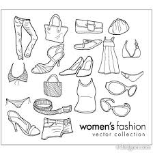 Wearing Female Clothing Items Line Drawing Vector Material