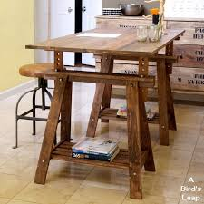 a bird u0027s leap diy rustic desk with stained ikea legs perfect
