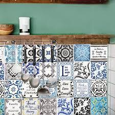 walplus entfernbarer selbstklebend wandkunst aufkleber vinyl wohndeko diy wohnzimmer schlafzimmer küche dekor tapete retro braun blau mix englisch