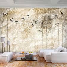 vlies fototapete beige steine vogel steinwand tapete