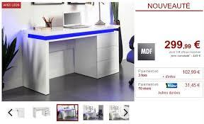 vente unique bureau bureau emerson leds 3 tiroirs mdf laqué blanc pas cher prix promo