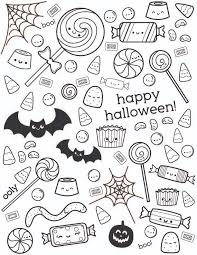 Uncolored Happy Halloween Coloring Page With Candy Designs