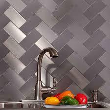 aspect backsplash brushed stainless short grain metal tile amys