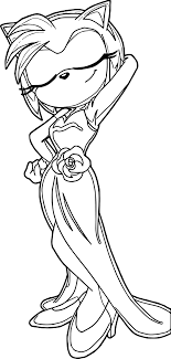 Amy Rose Beautiful Dress Coloring Page