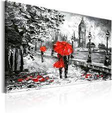 murando handart bilder auf leinwand 120x80 cm 1 tlg leinwandbild wandbilder wohnzimmer wanddekoration moderne kunst grau rot db 0158 ba