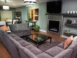 Full Size Of Large Gray U Shaped Sectional Couch Facing Stainless Steel Wall Mounted Fireplace In