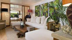 Tropical Living Rooms With White Couch And Benches Rustic Coffee Table Indoor Palm Trees