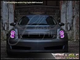 06 07 infiniti g35 coupe led colorshift halo rings headlights bulbs