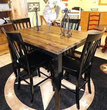High Top Dining Table Set Farm House Pub With Four Chairs Home Design Games