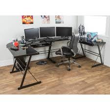 Walker Edison 3 Piece Contemporary Desk by Glass And Metal Corner Computer Desk Multiple Colors Walmart Com