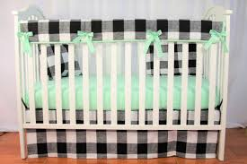 Mint Green Crib Bedding bumperless crib bedding set buffalo check mint baby bedding