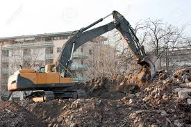 100 Demolition Truck In Action Of An Old Block Of Flats