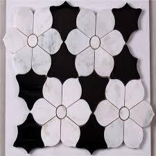 hsc62 wunderschöne schwarze und weiße fliesen bad mit blume