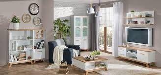 easy möbel wohnzimmer komplett set c panduros 6 teilig farbe kiefer weiß eiche braun