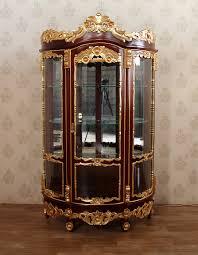 w gold leaf rococo curio display lighted corner china cabinet