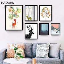 haochu nordic hirsch rosa dorf bunte baum blau wald leinwand malerei poster dekoration wandkunst abstrakte großes geschenk