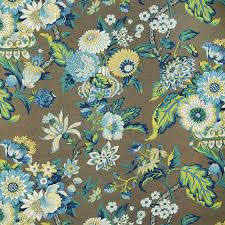 Decor Fabric Trends 2014 by Blue Jay Blue Floral Cotton Upholstery Fabric