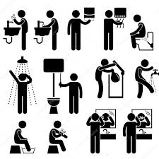 körperpflege waschen gesicht dusche zähne putzen toilette badezimmer strichmännchen piktogramm symbol 14137171